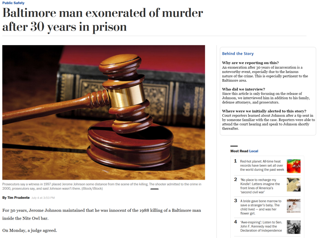 An image of a Washington Post article with a section for explaining the reporting
